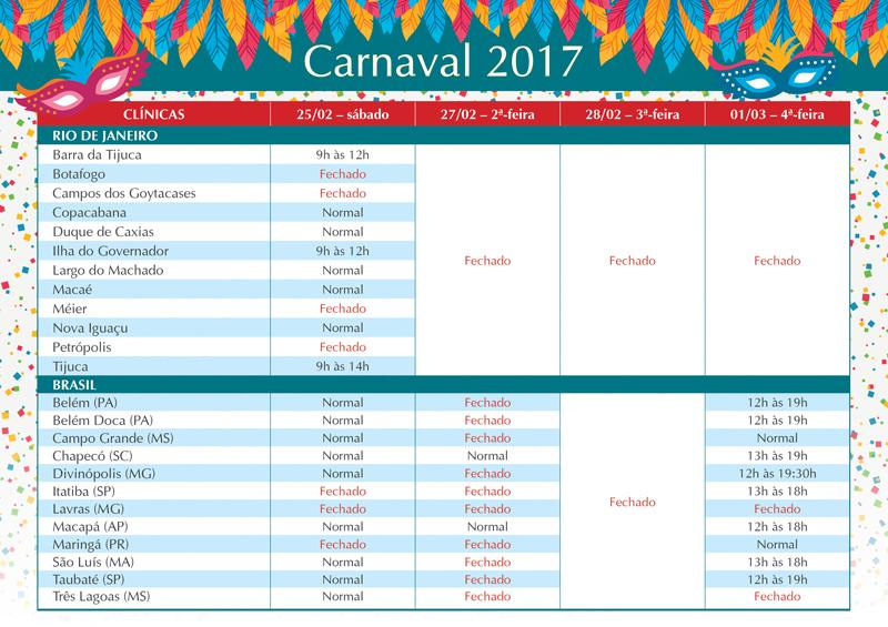 Funcionamento da Rede Vaccini para o Carnaval - 2017